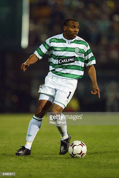 Didier Agathe of Celtic runs with the ball during the UEFA Cup Quarter Final Second Leg match between Villarreal and Celtic held on April 14 2004 at...