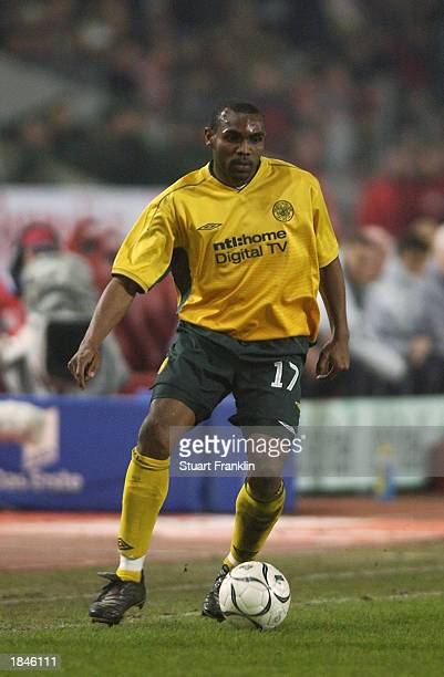 Didier Agathe of Celtic runs with the ball during the UEFA Cup fourth round second leg match between VFB Stuttgart and Glasgow Celtic held on...