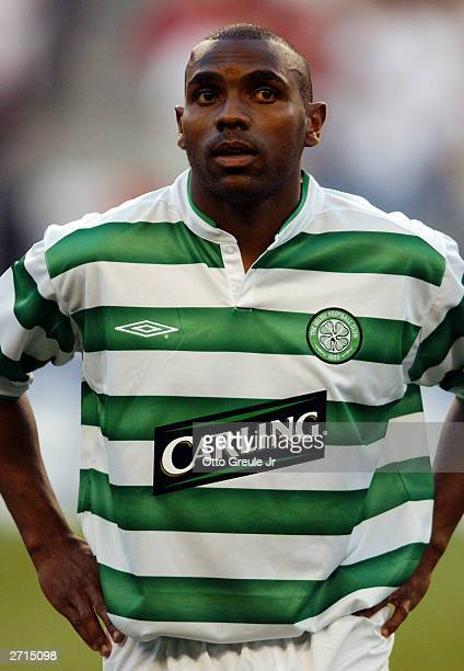 Didier Agathe of Celtic stands in line before the Champions World Series friendly match against Manchester United on July 22 2003 at the Seahawks...