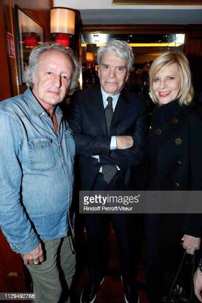 """Didier Barbeivien, Bernard Tapie and Chantal Ladesou attend Claude Lelouch receives the Insignia of Officer of the Legion of Honor at """"Club 13"""" on..."""