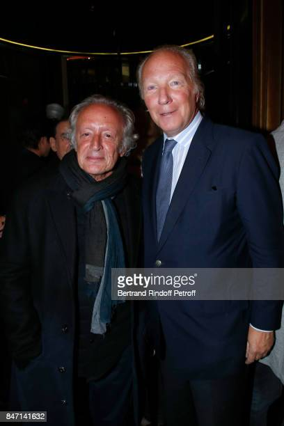 Didier Berbelivien and Brice Hortefeux attend the Reopening of the Hotel Barriere Le Fouquet's Paris decorated by Jacques Garcia at Hotel Barriere Le...