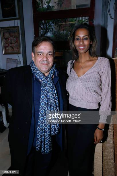 Didier Bourdon and his wife MarieSandra Badini Duran attend the Dinner in honor of Nathalie Baye at La Chope des Puces on April 30 2018 in SaintOuen...