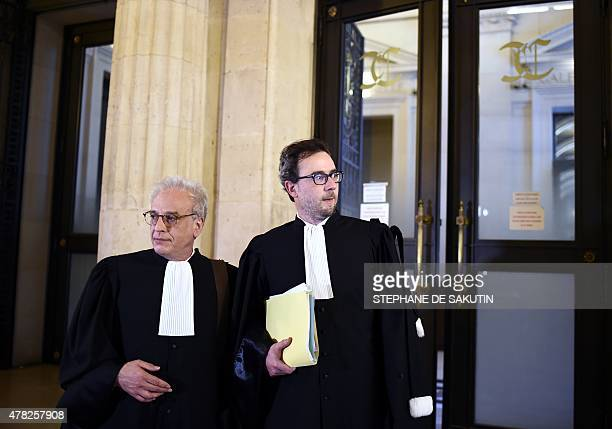 Didier Bouthors lawyer of Maurice Agnelet and Paul Mathonnet lawyer of the Le Roux family walk on June 24 2015 at the courthouse of Paris during a...