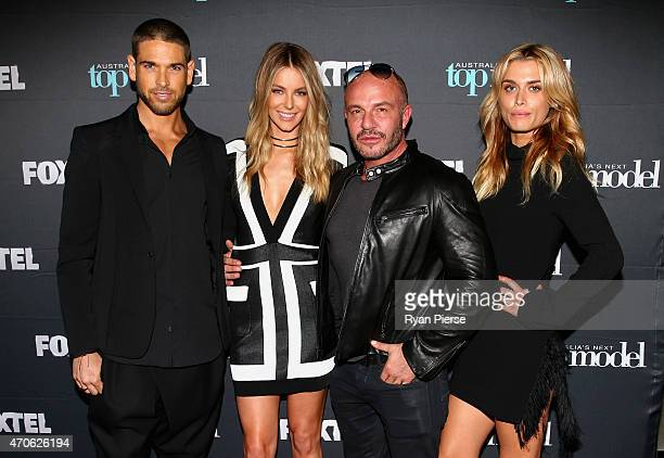 Didier Cohen Jennifer Hawkins Alex Perry and Cheyenne Tozzi pose at the premiere screening of Australia's Next Top Model at Hoyts Entertainment...