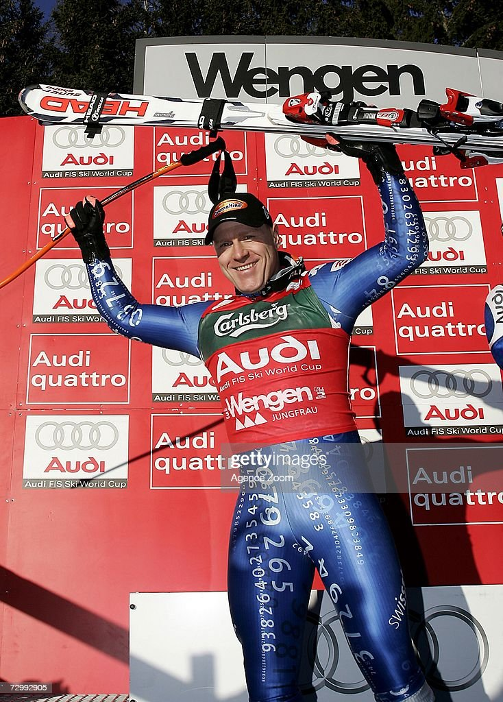 Didier Cuche of Switrzerland celebrates 2nd place during the FIS Skiing World Cup Men's Downhill on January 13, 2007 in Wengen, Switzerland.