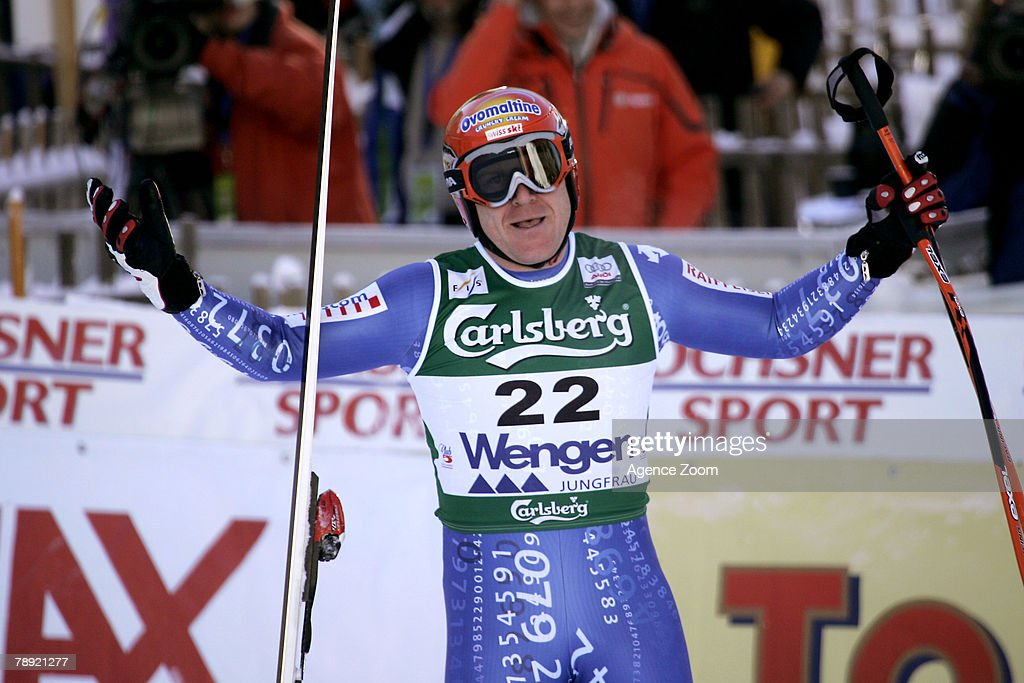 Didier Cuche of Switzerland celebrates taking second place during the Alpine FIS Ski World Cup Men's Downhill on January 13, 2008 in Wengen, Switzerland.