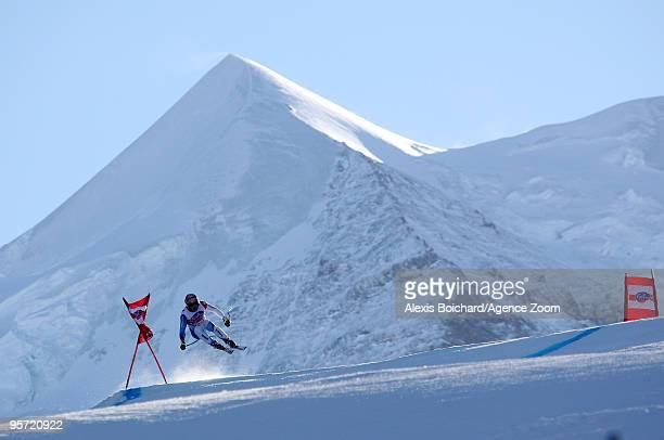 Didier Cuche of Switzerland competes during the Audi FIS Alpine Ski World Cup Men's first Downhill training on January 12 2010 in Wengen Switzerland