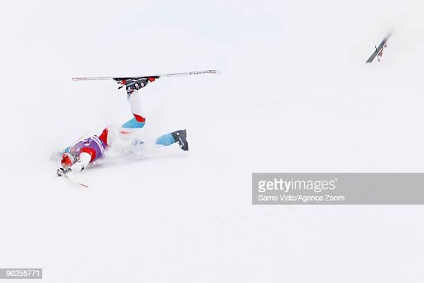 Didier Cuche of Switzerland falls during the Audi FIS Alpine Ski World Cup Men's Giant Slalom on January 29 2010 in Kranjska Gora Slovenia
