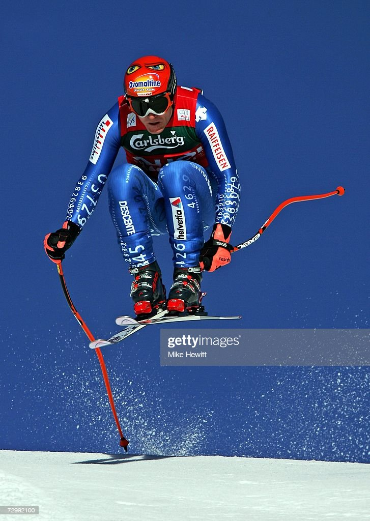 Didier Cuche of Switzerland flies over the Hundschopf jump on his way to second place during the Men's Audi FIS Ski World Cup Downhill race on January 13, 2007 in Wengen, Switzerland.