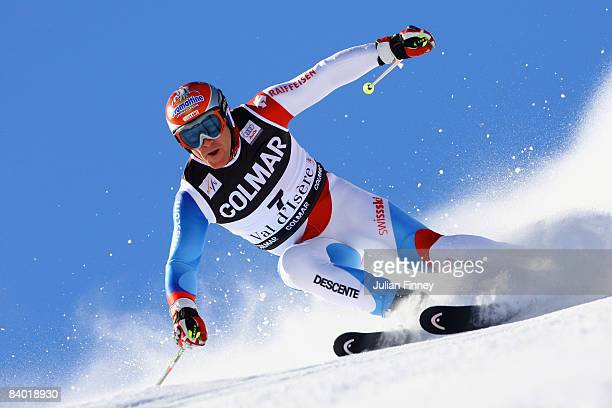 Didier Cuche of Switzerland in action during the Men's Giant Slalom at the FIS Skiing World Cup on December 13 2008 in Val d'Isere France