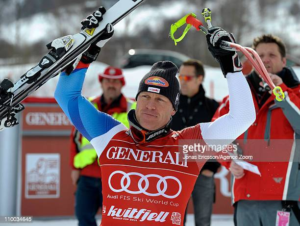 Didier Cuche of Switzerland takes 1st place during the Audi FIS Alpine Ski World Cup Men's SuperG on March 13, 2011 in Kvitfjell, Norway.