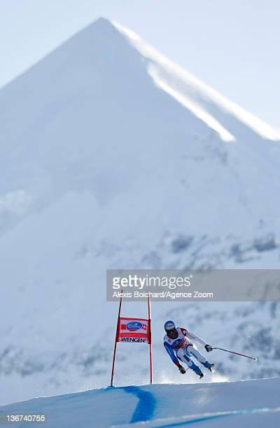 Didier Defago of Switzerland attends the Audi FIS Alpine Ski World Cup Men's Downhill training on January 11 2012 in Wengen Switzerland