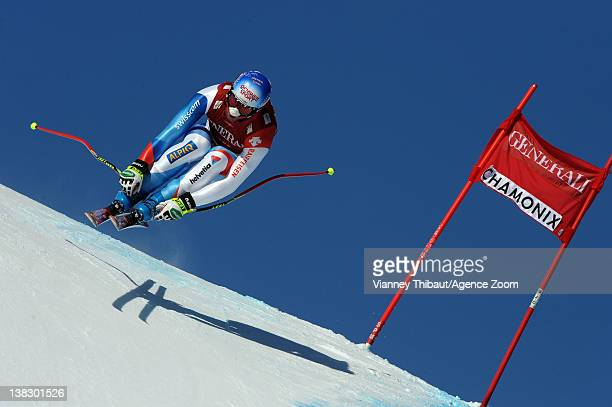 Didier Defago of Switzerland during the Audi FIS Alpine Ski World Cup Men's Super Combined on February 5 2012 in Chamonix France