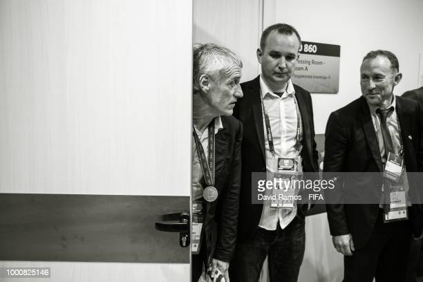 Didier Descahmps Manager of France looks on from their dressing room following his victory in the 2018 FIFA World Cup Russia Final between France and...