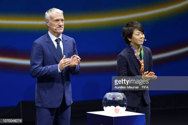 Didier Deschamps and Aya Miyama on stage during the FIFA Women's World Cup France 2019 Draw at La Seine Musicale on December 8 2018 in Paris France