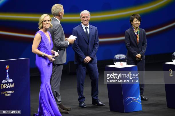 Didier Deschamps and Aya Miyama on stage with draw hosts Amanda Davies and Denis Brogniart during the FIFA Women's World Cup France 2019 Draw at La...