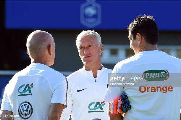 Didier Deschamps arrives to a training session at the French National Football Centre as part of the preparation to UEFA Euro 2020 on September 02...
