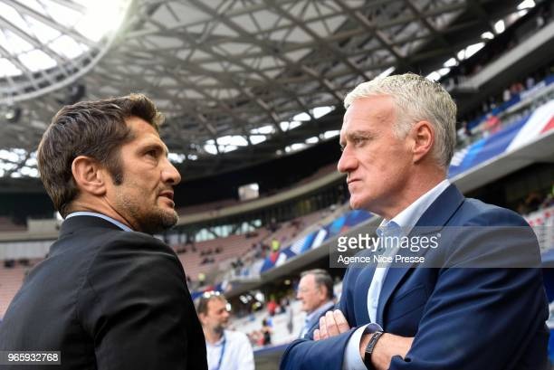 Didier Deschamps coach of France and Bixente Lizarazu former french player during the International Friendly match between France and Italy at...