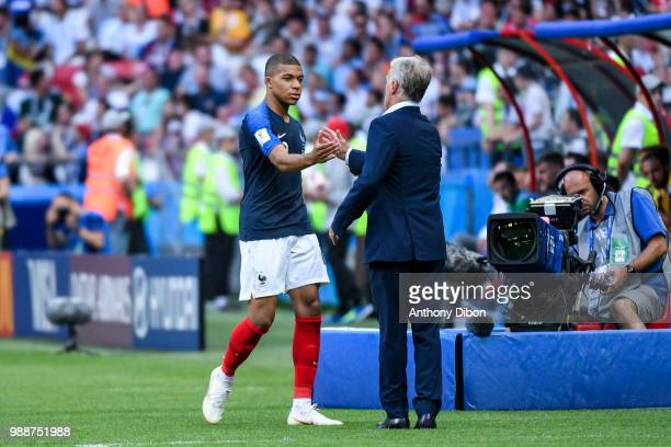 Didier Deschamps coach of France and Kylian Mbappe of France during the FIFA World Cup Round of 16 match between France and Argentina at Kazan Arena...