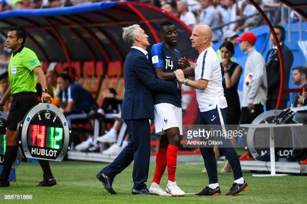Didier Deschamps coach of France Blaise Matuidi and Guy Stephan assistant coach of France during the FIFA World Cup Round of 16 match between France...