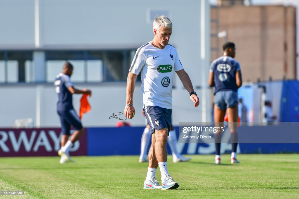 Didier Deschamps coach of France during the training France on July 12, 2018 in Moscow, Russia.