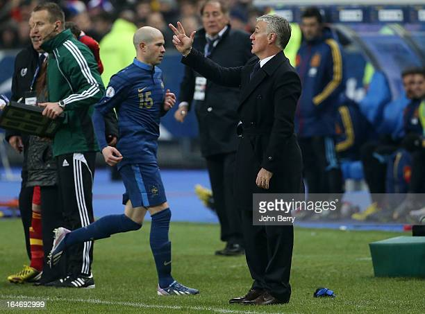 Didier Deschamps coach of France reacts from the sideline while Christophe Jallet is replaced during the FIFA World Cup 2014 qualifier match between...
