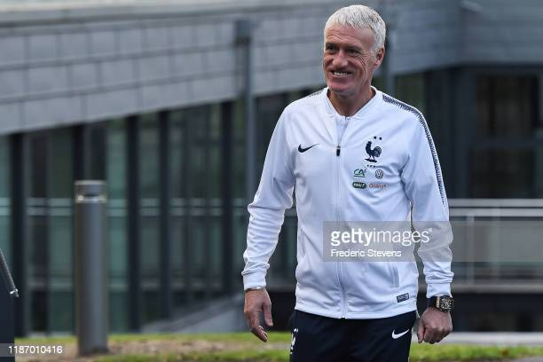 Didier Deschamps head coach of France arrives ahead of a training session on November 11 2019 in Clairefontaine France France will play against...