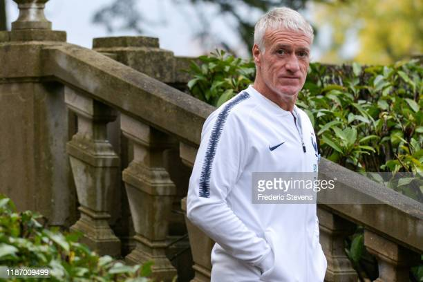 Didier Deschamps head coach of France goes a press conference before of a training session on November 11 2019 in Clairefontaine France France will...