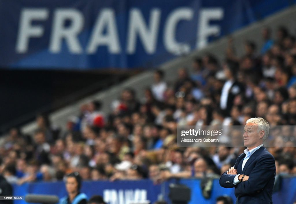 Didier Deschamps head coach of France looks on during the International Friendly match between France and Italy at Allianz Riviera Stadium on June 1, 2018 in Nice, France.