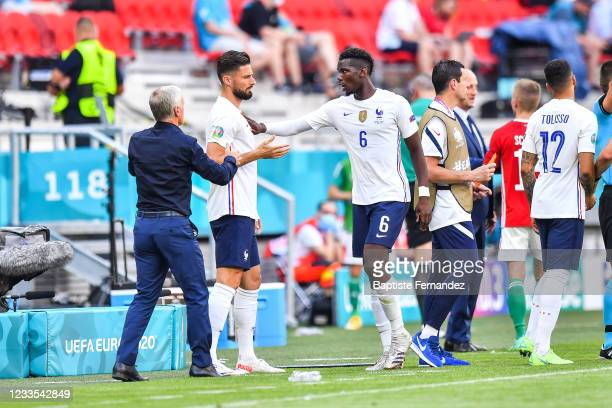 Didier DESCHAMPS head coach of France, Olivier GIROUD of France and Paul POGBA of France during the UEFA European Championship football match between...