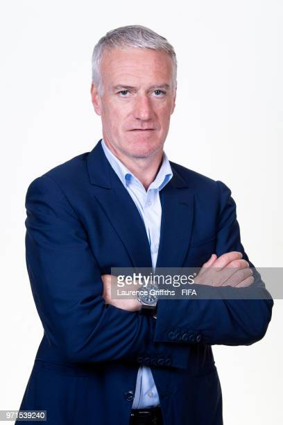 Didier Deschamps Head Coach of France poses for a portrait during the official FIFA World Cup 2018 portrait session at the Team Hotel on June 11 2018...