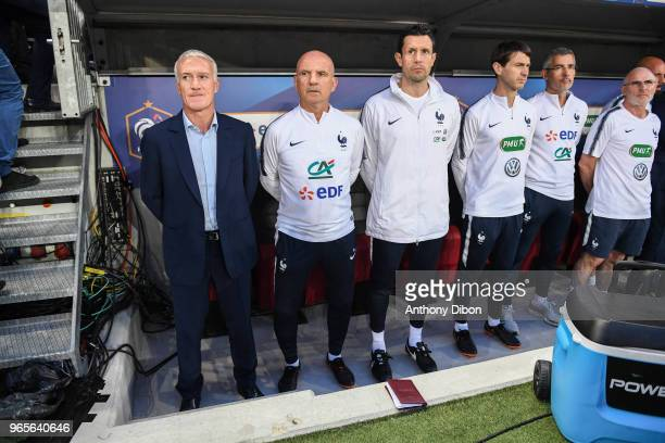 Didier Deschamps head coach of France with his staff during the International Friendly match between France and Italy at Allianz Riviera Stadium on...