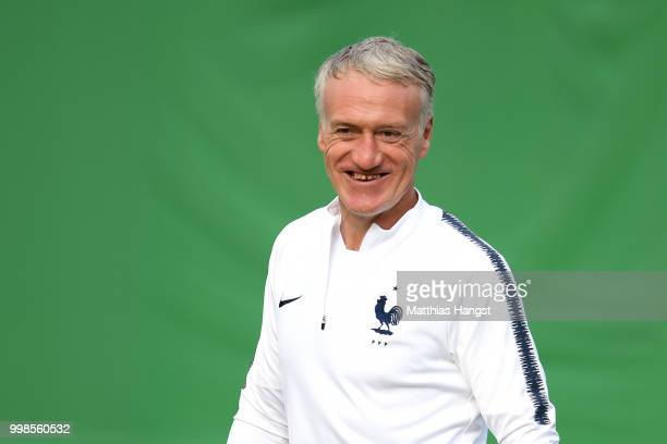 Didier Deschamps Manager of France arrives at a France training session during the 2018 FIFA World Cup at Luzhniki Stadium on July 14 2018 in Moscow...