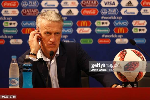 Didier Deschamps Manager of France attends the post match press conference following the 2018 FIFA World Cup Russia Quarter Final match between...