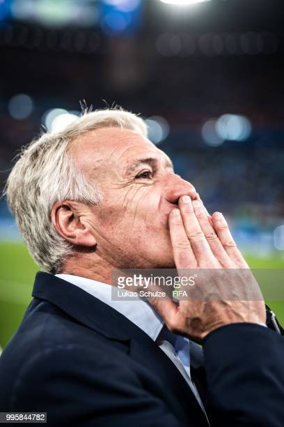 Didier Deschamps Manager of France celebrates after the 2018 FIFA World Cup Russia Semi Final match between Belgium and France at Saint Petersburg...