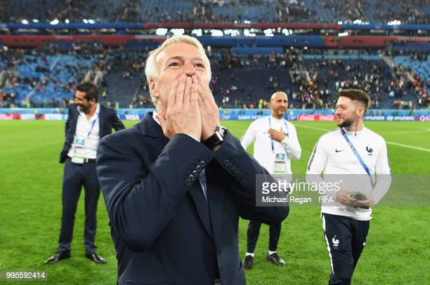 Didier Deschamps Manager of France celebrates following his sides victory in the 2018 FIFA World Cup Russia Semi Final match between Belgium and...