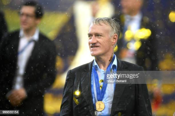 Didier Deschamps Manager of France celebrates following the 2018 FIFA World Cup Final between France and Croatia at Luzhniki Stadium on July 15 2018...