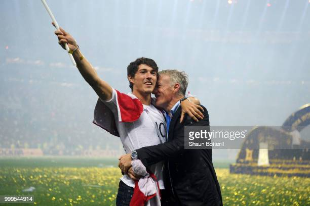 Didier Deschamps Manager of France celebrates victory with son Dylan following the 2018 FIFA World Cup Final between France and Croatia at Luzhniki...