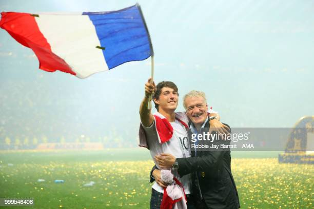 Didier Deschamps Manager of France celebrates victory with son Dylan at the end of of the 2018 FIFA World Cup Russia Final between France and Croatia...