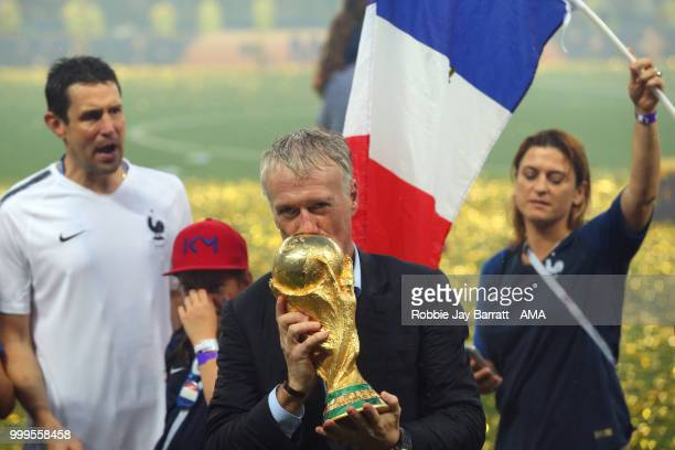 Didier Deschamps Manager of France celebrates victory with the FIFA World Cup trophy at the end of of the 2018 FIFA World Cup Russia Final between...