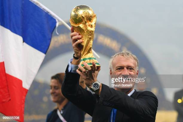 Didier Deschamps Manager of France celebrates with the World Cup trophy following the 2018 FIFA World Cup Final between France and Croatia at...