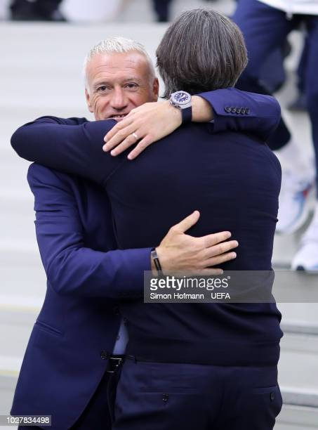 Didier Deschamps Manager of France greets Joachim Low Manager of Germany prior to the UEFA Nations League Group A match between Germany and France at...