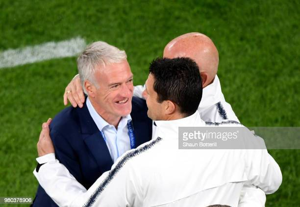 Didier Deschamps Manager of France is congratulated by his staff's members following the 2018 FIFA World Cup Russia group C match between France and...