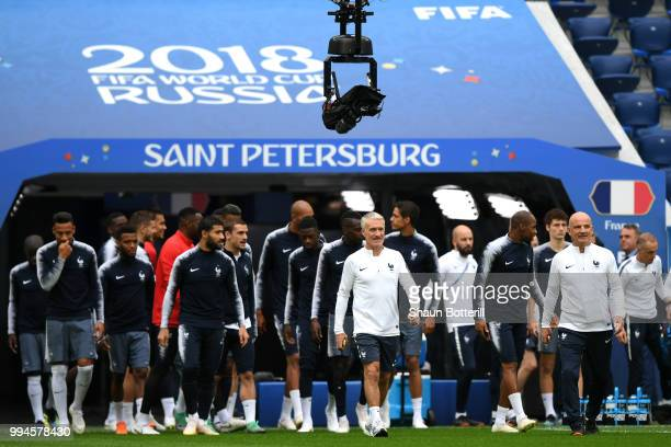 Didier Deschamps Manager of France leads his team out onto the pitch during a France Training Session at Saint Petersburg Stadium on July 9 2018 in...
