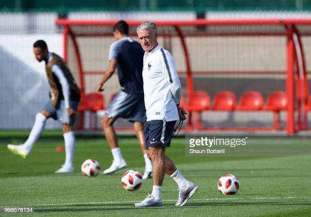 Didier Deschamps Manager of France looks on during a France training session during the 2018 FIFA World Cup at Luzhniki Stadium on July 14 2018 in...