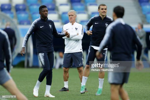 Didier Deschamps Manager of France looks on during a training session at Nizhny Novgorod Stadium on July 5 2018 in Nizhny Novgorod Russia