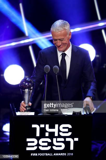 Didier Deschamps Manager of France receives the trophy for The Best FIFA Men's Coach 2018 during the The Best FIFA Football Awards Show at Royal...