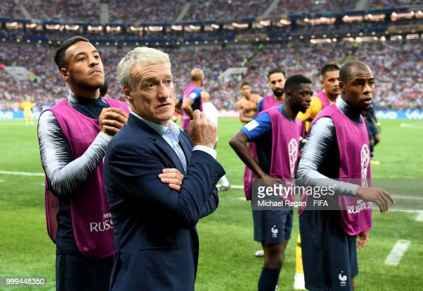Didier Deschamps, Manager of France waits fir the referee to view VAR footage before awarding a penalty to France during the 2018 FIFA World Cup...