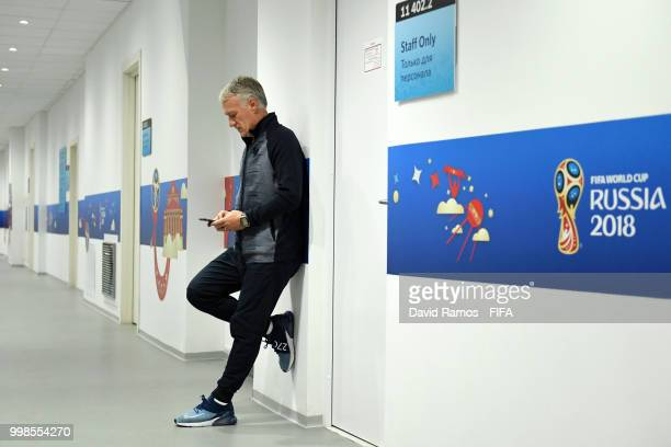 Didier Deschamps Manager of France waits outside prior to a France press conference during the 2018 FIFA World Cup at Luzhniki Stadium on July 14...
