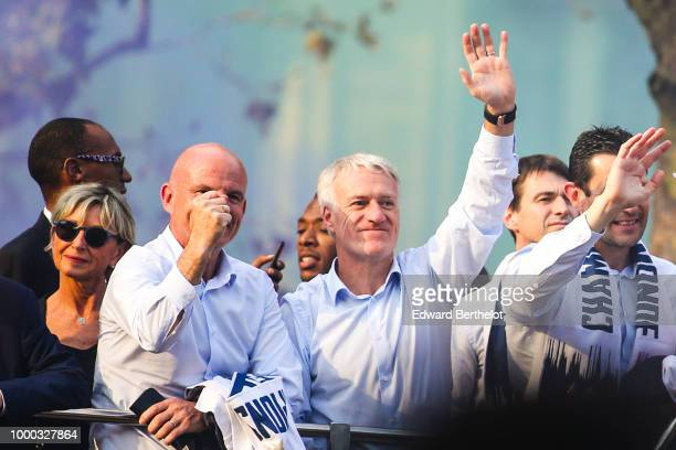 Didier Deschamps Manager of the France National soccer team attends the France's World Cup Winning Team Parade Down The Champs Elysee on July 16 2018...